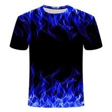 Summer T-Shirt Short-Sleeve Flame 3D Purple Blue Green Sales Men's Fashion High-Quality