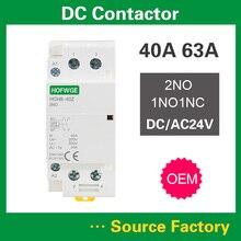HCH8-40 DC Contactor 2P 63A 2NO 1NO1NC AC24V DC24V Automatic Householdr Contactor Din Rail Type