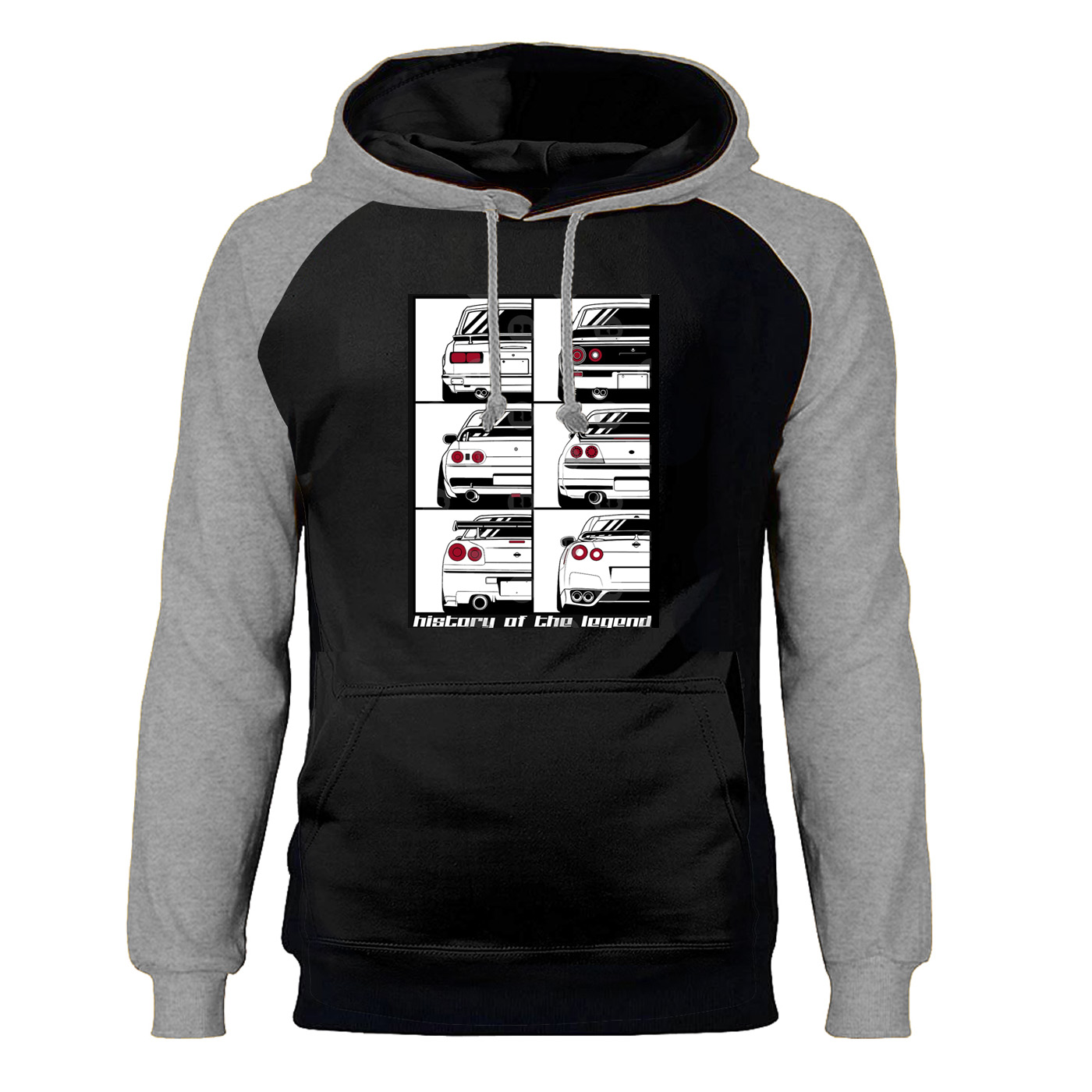 Novelty GTR Car Hoodies Men Raglan Cartoon Funny Skyline Graphic Hooded Sweatshirt Hoodie Streetwear Harajuku Workout Sportswear