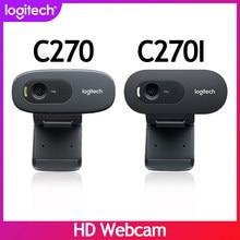 Novo original logitech c270 c270i hd webcam 720p hd built-in microfone câmera web usb2.0 unidade livre webcam para pc chat câmera
