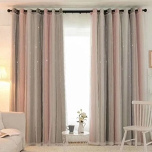 150x250cm Hollow Stars Blackout Curtains Double Layers of Cloth and Yarn Window Curtain Drapes Purdah for Living Room