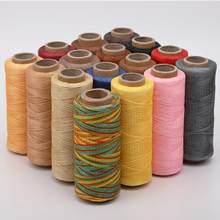 Couro encerado fio 150d 50m corda de cera cabo de costura artesanato ferramenta diy mão produtos de couro linha de costura plana encerada