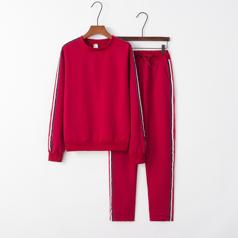 Red Warm 2020 New Design Fashion Hot Sale Suit Set Women Tracksuit Two-piece Style Outfit Sweatshirt Sport Wear