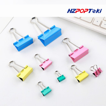 Stationary Mix Color Metal Binding Clip Securing Elliot Folder for Office School Ticket Paper Documents Clamp Use 1Pack hypersonic black helmet design spring type car ticket clip for office hotel