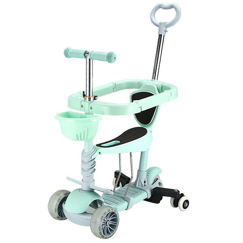 3 In 1 Flash Wheel Baby Scooter Toddler Bicycle Adjustable Push Trolley Baby Balance Car Kids Bike Ride On Toys 2-6years Old