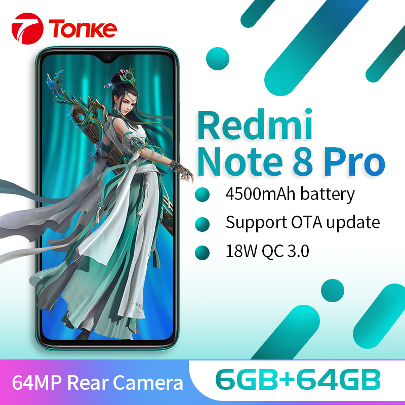En Stock! Xiaomi Redmi Note 8 Pro 6GB 64GB 64MP Quad caméra arrière Smartphone MTK Helio G90T Octa Core 4500mAh batterie NFC 6.53