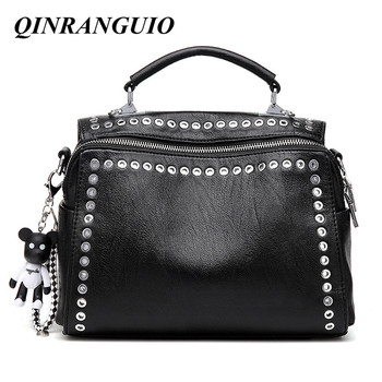 QINRANGUIO Women Leather Handbags Fashion Rivet Bag Black Crossbody Bags for 2020 PU Shoulder