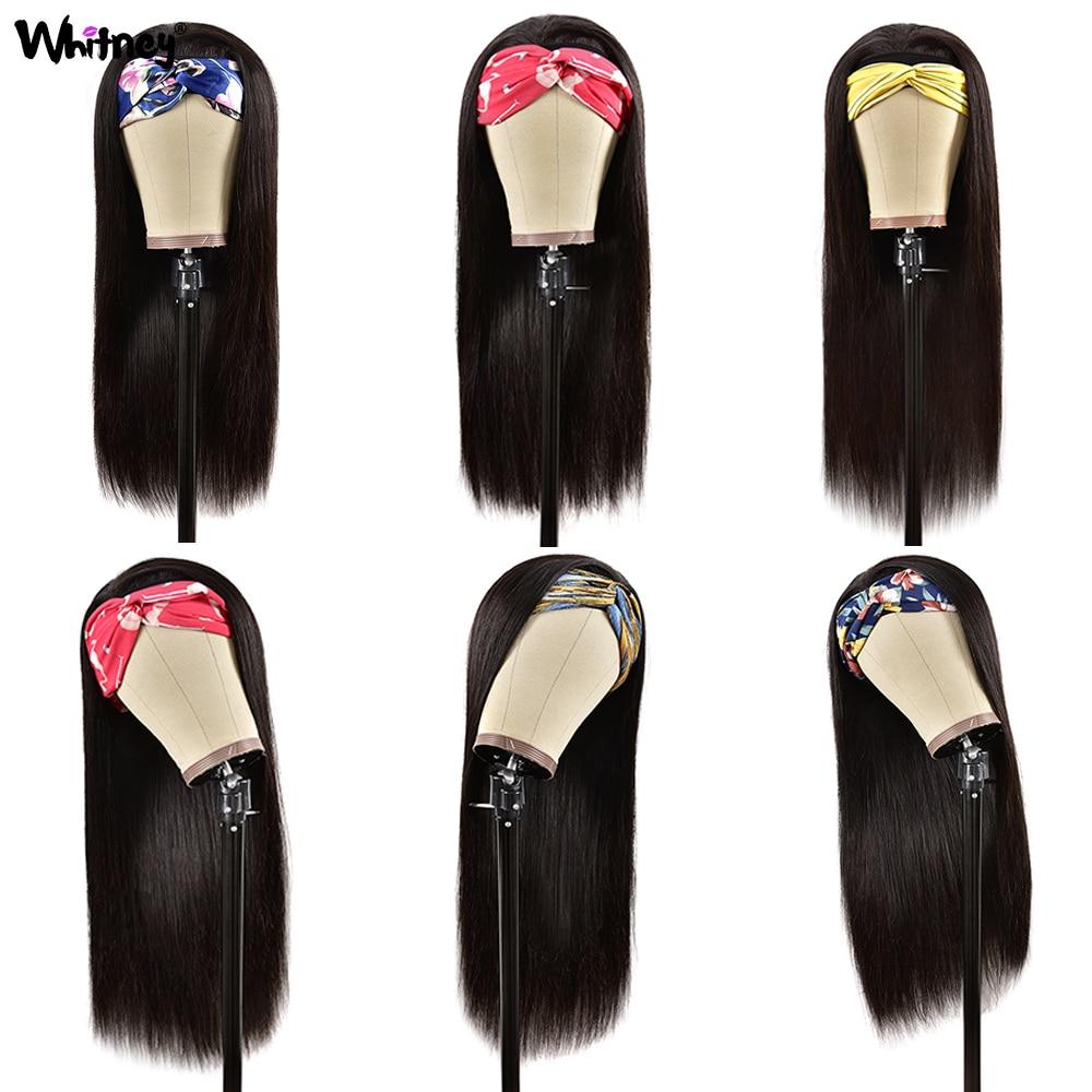 Whitney Straight Headband Wig Human Hair Glueless Scarf Headband Wigs Brazilian Remy Hair For Black Women Natural Color 150%