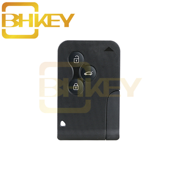 цена на BHKEY 3Buttons Smart Remote Car key Case  For Renault Clio Logan Megane 2 3 Koleos Scenic Card Case Black Car Key Fob shell