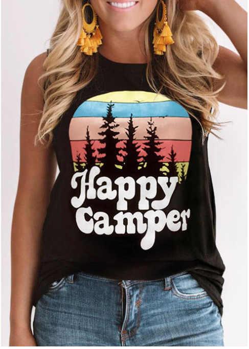 Mode Sommer Baumwolle frauen Tops Glücklich Camper Rundhals Beiläufige Lose Sleeveless Feste O-ansatz Tank T-shirt Top schwarz