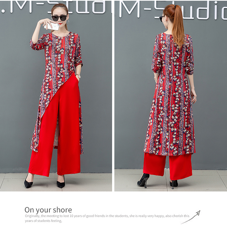 Printed Two Piece Sets Outfits Women Plus Size Splicing Long Tops And Wide Leg Pants Suits Elegant Office Fashion Korean Sets 48