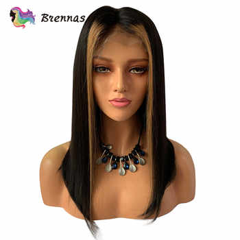 Ombre straight short bob lace front wig #27 honey blonde highlight natural black color Brazilian human Remy hair for Black Women - DISCOUNT ITEM  40% OFF All Category