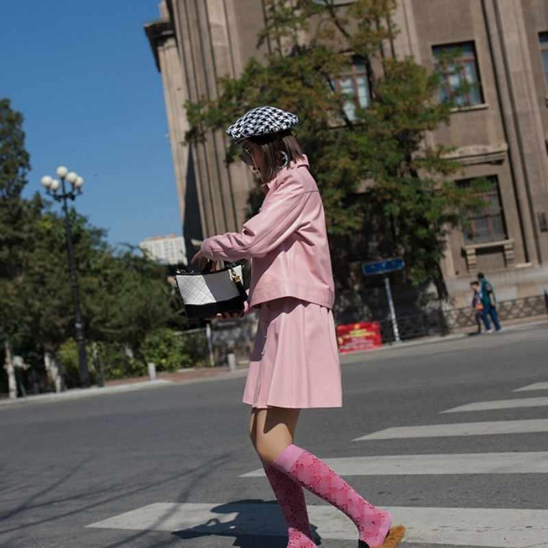 2020 新しい女性色の羊革 2 個セット本革ジャケットコートハイウエストダブルブレストスカートスーツセット