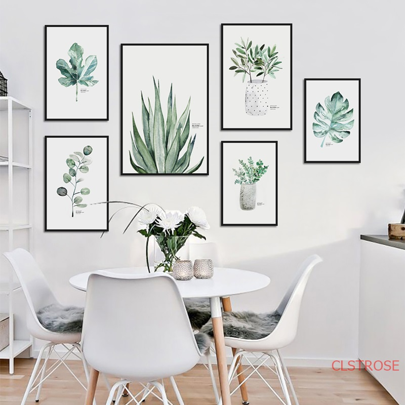 Minimalist Watercolor Green Plant Canvas Painting Modern Home Decoration Fresh Wall Art Pictures For Bedroom Nordic Poster
