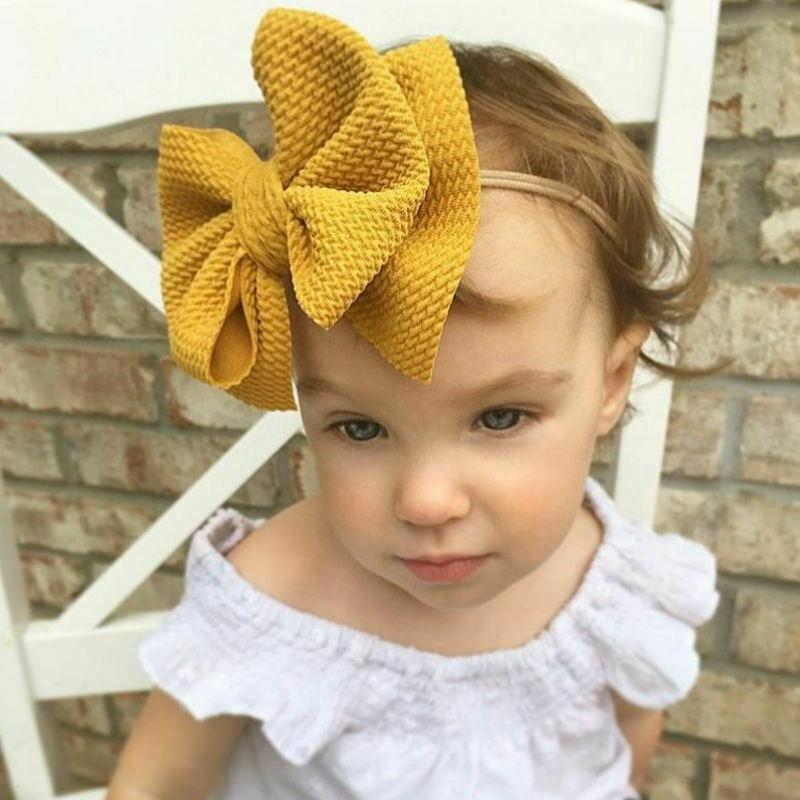 2020 Baby Accessories Infant Baby Girl Boy Cute Bow Headband Newborn Headwear Headdress Hair Band 2Pcs/Set Big Bowknot Wholesale