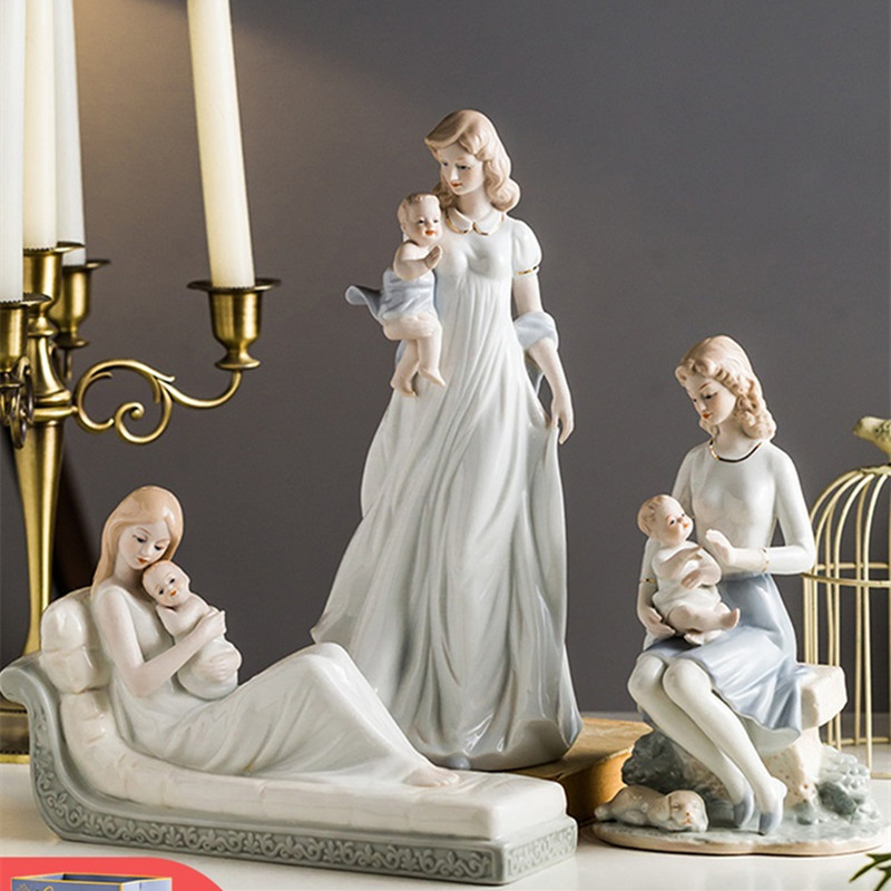European Creative Ceramics Mother And Child Art Sculpture Character Figurine Crafts Decorations For Home Mother's Day Gift R3559