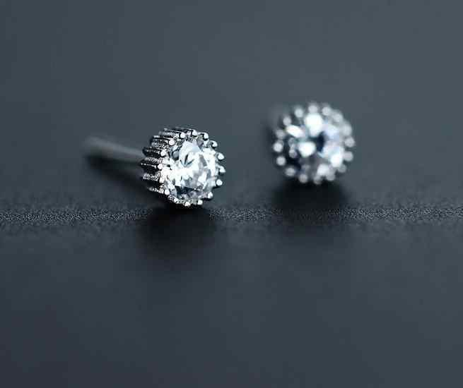 Женские блестящие настоящие. Ювелирные изделия из стерлингового серебра 925 пробы, круглые серьги-гвоздики с фианитами AAA + камень, 3 мм GTLE881