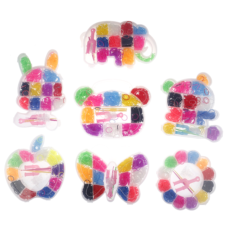600pcs Colorful Rubber Loom Bands Weave Elastic Make Bracelet Tool DIY Set Kit Box Girls Gift Kids Toys For Children