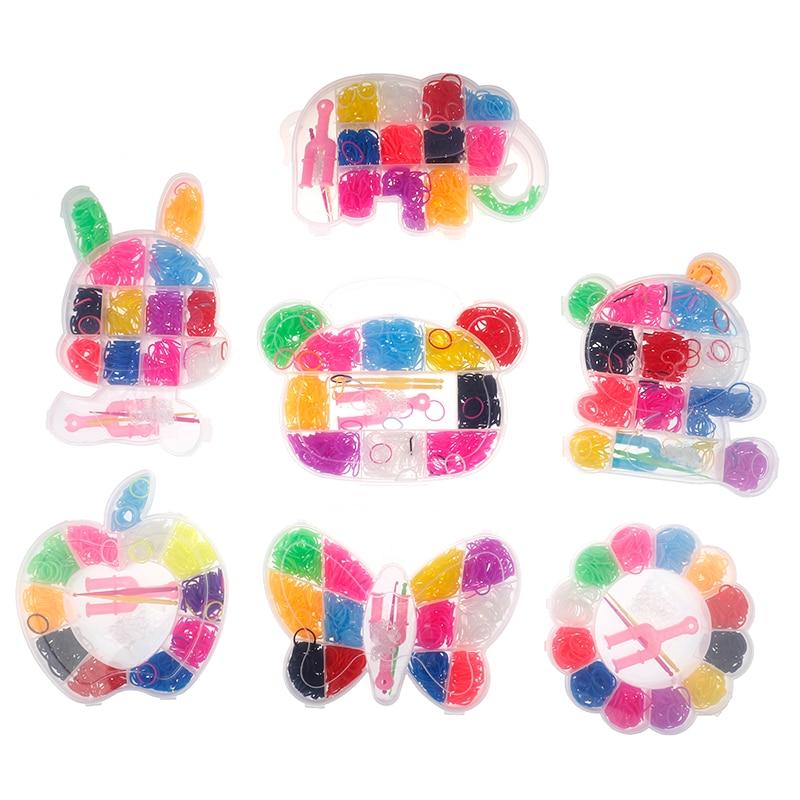 600pcs Colorful Rubber Loom Bands Weave Elastic Make Bracelet Tool DIY Set Kit Box Girls Gift Kids Toys For Children