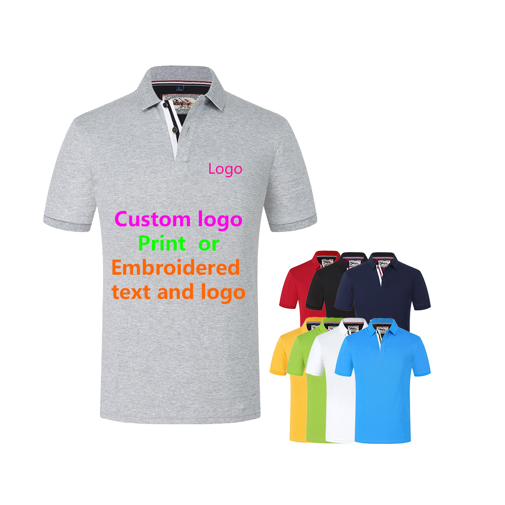 Custom men's and women's solid color polo shirt short