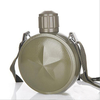 800ml stainless steel vacuum insulation kettle army green outdoor travel pot cold military fan pot plus strap Thermal flask
