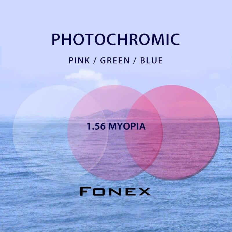 1.56 (-0.50-4.00) Photochromic Pink Green Blue Prescription CR-39 Resin Aspheric Glasses Lenses Myopia Sunglasses Lens