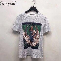 Svoryxiu Designer Frühling Sommer Multi-Farbe Muster Drucken Leinen Baumwolle T-shirt frauen Mode Kurzen Ärmeln Tops Tees weibliche