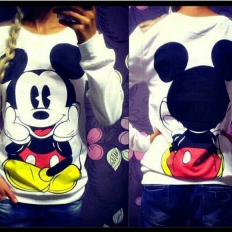 Casual vrouwen Kleding Mickey Cartoon Print Volledige O-hals Losse Truien Hoodies Winter Plus Fluwelen harajuku Dames Sweatshirt