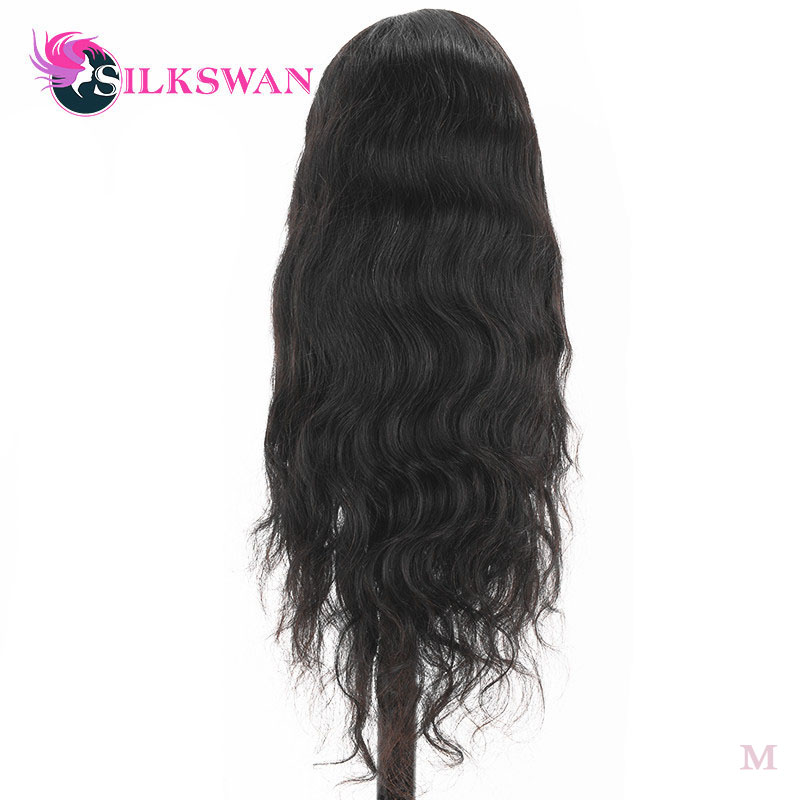 Silkswan Hiar Brazilian Natural Color Body Wave 13*4 Lace Front Wigs Baby Hair 150 Density Human Remy Hair Pre Plucked Hair Line