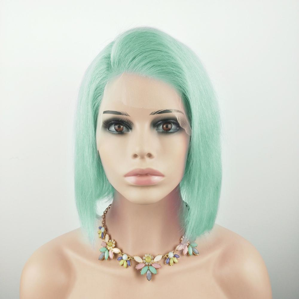 Short Bob 13*4 Lace Front Human Hair Wigs Colored Side Part Pink Mint Green Straight Brazilian Lace Wigs 10-16 Inches