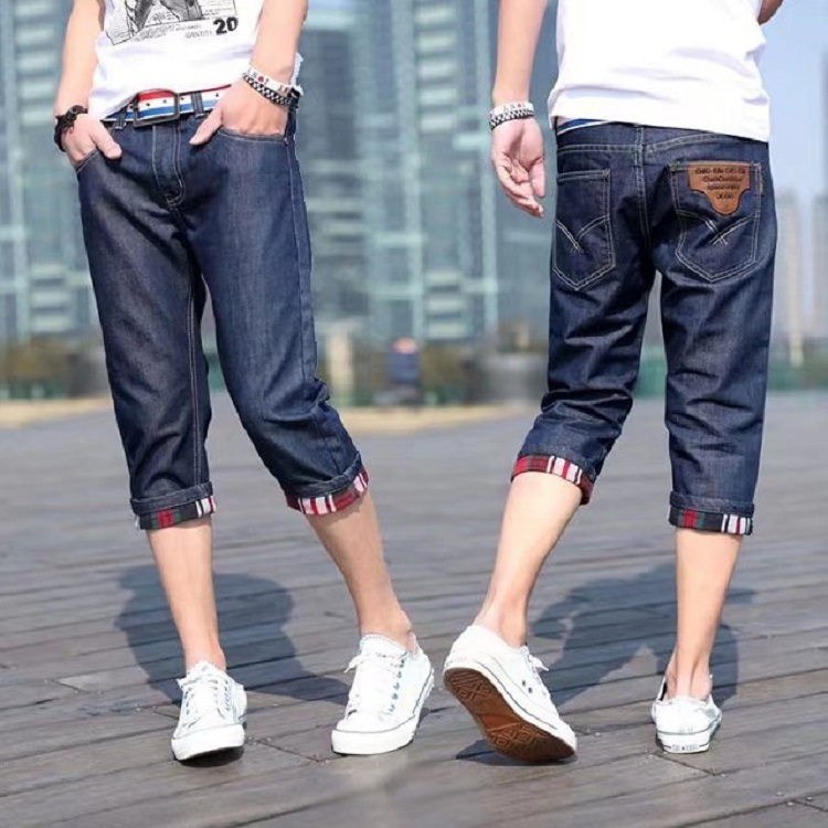 2019 Summer New Style Cowboy Capri Pants MEN'S Casual Shorts Loose-Fit Korean-style Trend MEN'S Trousers