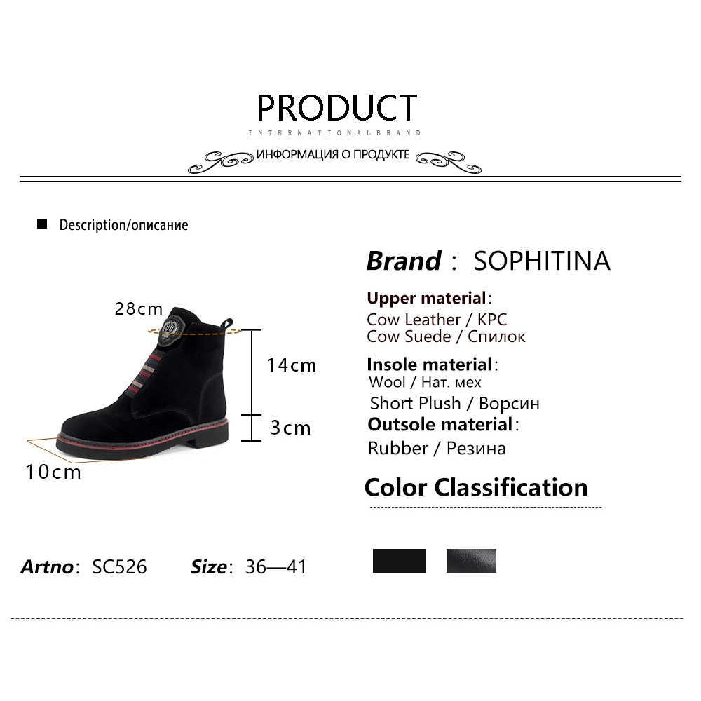 SOPHITINA yün kürk yarım çizmeler yüksek kalite hakiki deri rahat kare topuk ayakkabı sıcak tutmak yuvarlak ayak kış çizmeler SC526