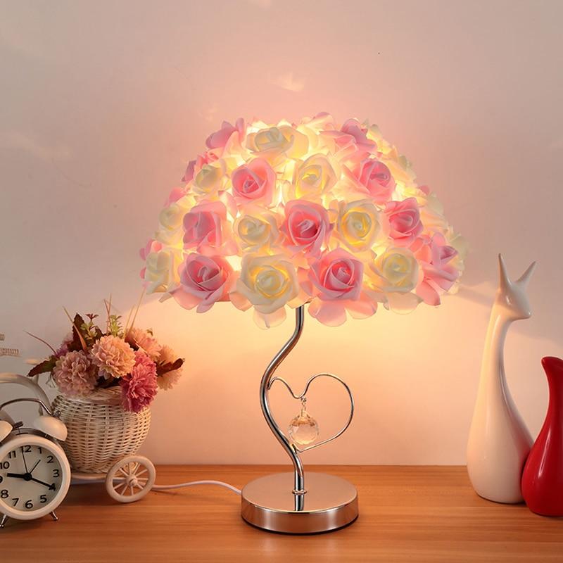 luminaria de mesa de estudo criativo com rosas para quarto decoracao quente lampada de cabeceira presente