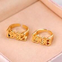 Złoty kolor 1991-2005 rok urodzenia liczba pierścieni dla kobiet regulowany minimalizm Old English Rings biżuteria ślubna Bague Femme