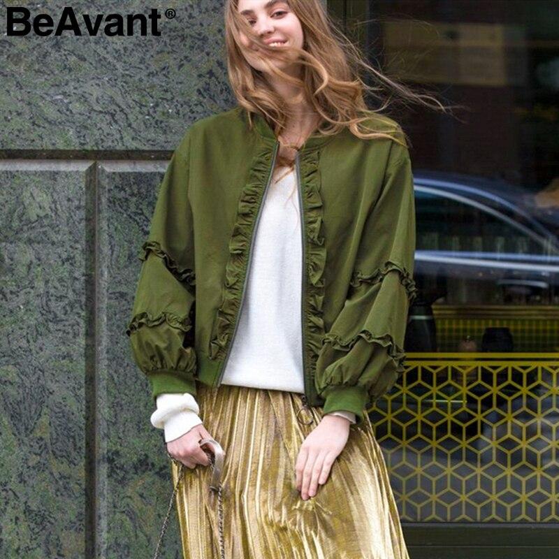 BeAvant Ruffled zipper women   basic     jacket   coat Long sleeve female outwear windbreaker coat Ladies motorcycle bomber   jackets   2019