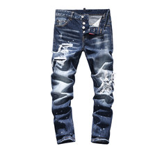 European Italy dsq brand straight jeans pants Men Slim gentleman jeans denim trousers zipper blue hole Pants jeans for men(China)
