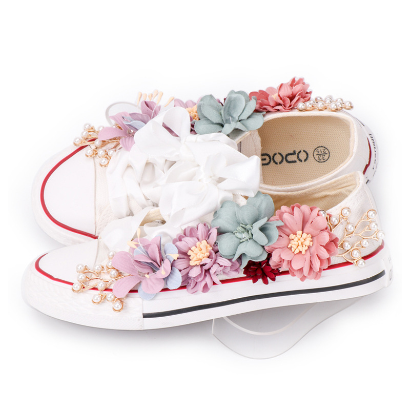 Women Sneakers Summer Canvas Shoes White Ribbon Strap Sew Colorful Flowers Pearl Diamond Ribbon Flats Comfortable Shoes Girls