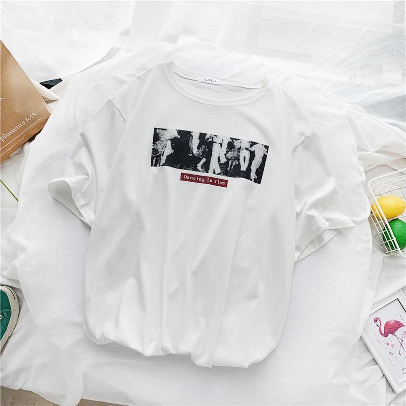 2020 Summer Simple T Shirt Women 90s Kawaii Graphic Tshirt Harajuku  T-shirt Streetwear Korean Style Funny White Top Tees Female