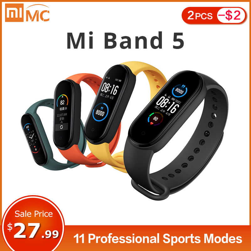 Xiaomi Mi Band 5 Smart Armband 4 Kleur Amoled Screen Miband 5 Smartband Fitness Tracker Bluetooth Sport Waterdichte Slimme Band