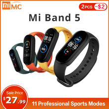 Xiaomi Mi Band 5 Smart Armband 4 Farbe AMOLED Bildschirm Miband 5 Smartband Fitness Tracker Bluetooth Sport Wasserdichte Smart Band(China)