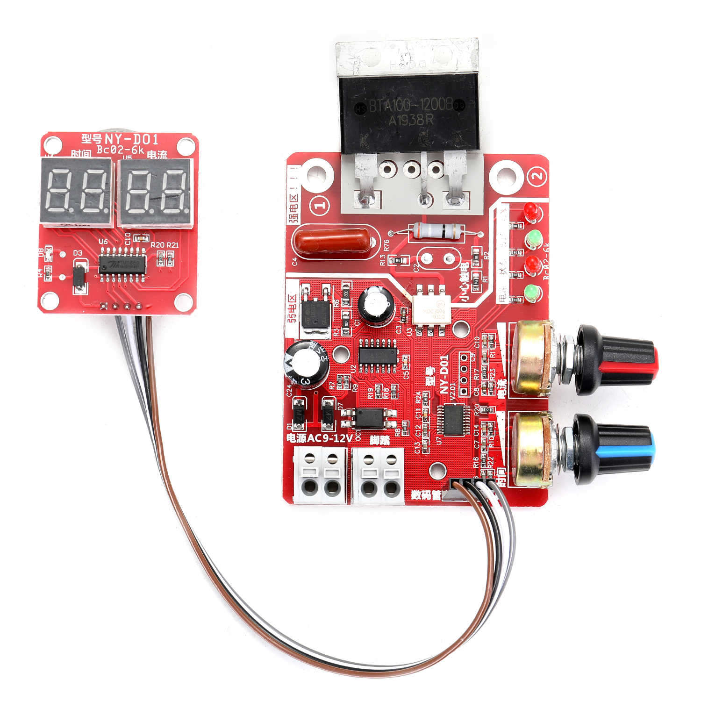NY-D01 Battery Spot Welding Machine Set Digital Display Control Board 100A with Spotwelding Pen 9V Transformer Metal Foot Pedal