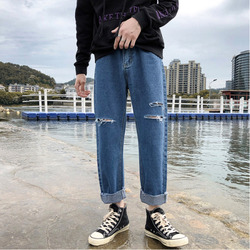 Hole Jeans Men Fashion Washed Solid Color Casual Denim Trousers Men Streetwear Loose Hip Hop Straight Jean Pants Male Clothes