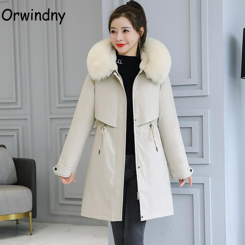 Orwindny Winter Coat Women Plus Size 5XL 6XL Warm Wool Liner Jackets Ladies Large Fur Collar