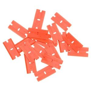 Image 2 - Window Glass Clean Scraper 100pcs Double Edged Plastic Razor Blade Car Wrap Sticker Squeegee Lable Clean Razor Glue Remover