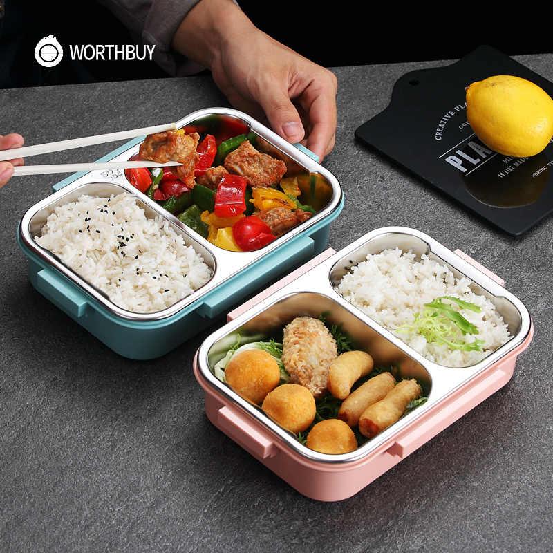 WORTHBUY nova lancheira japonesa para crianças escola 304 aço inoxidável bento lancheira à prova de vazamento recipiente de alimentos crianças caixa de comida