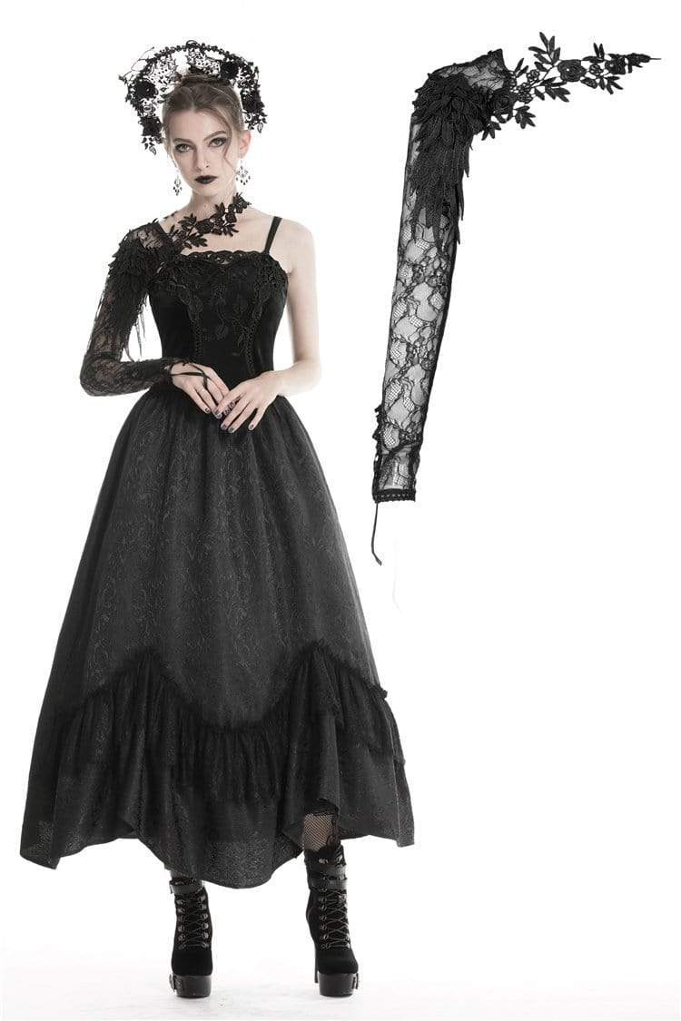 Darkinlove Women's Gothic Half Lace Sleeve With Flowers AGL006