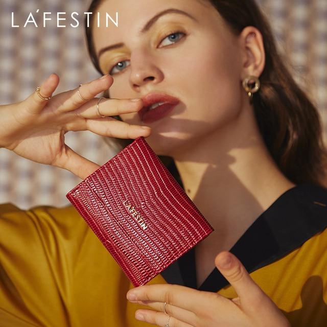 ラfestinトカゲパターン三倍財布短財布女性のコンパクト超薄型ソフトレザー折りたたみコイン財布