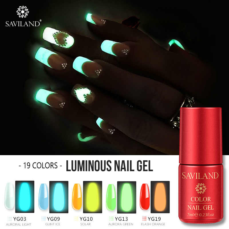 Saviland 7ml UV Gel Night Glow In Dark Nail Gel Polish Luminous Lucky Lacquer Varnishes Soak-off LED  Fluorescent Varnishes