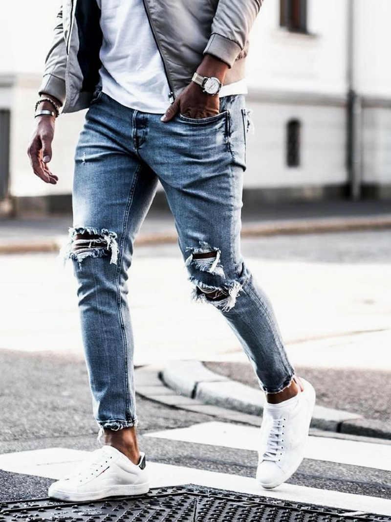 Männer Zerrissene Dot Gedruckt Dünne Jeans Zerstört Ausgefranste Slim Fit Denim Hose Casual Männer Schlanke Loch Zipper Balck Jeans Hosen