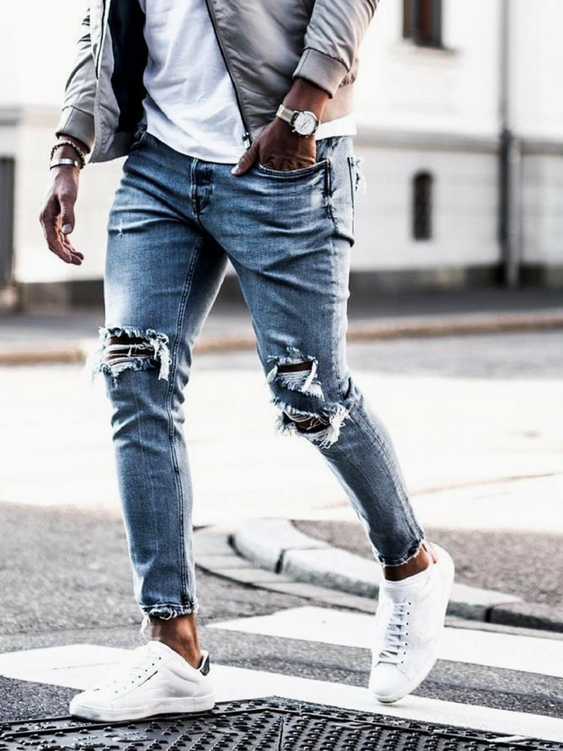Men Ripped Dot Printed Skinny Jeans Destroyed Frayed Slim Fit Denim Pant Casual Men Slim Hole Zipper Balck Jeans Pants
